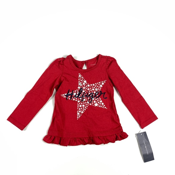 dfabfab1bffa0f Tommy Hilfiger Shirts & Tops | New Baby Girls T Shirt Ruffles Star ...
